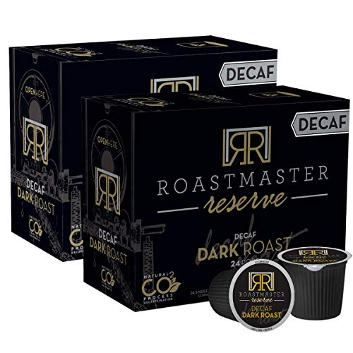 Roastmaster Reserve Decaf Dark Roast Coffee Pods – 48ct. Limited Batch Rare CO2 Decaf Coffee Process - Single Origin Colombian Coffee Blend Recyclable Single Serve Low Acid Coffee Pods (6.8 PH Level), Keurig Decaf Dark Roast K Cup Compatible Including 2.0