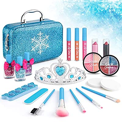21pcs Kids Makeup Kit for Girls, Kids Play Washable Makeup Set Frozen Toys for Girls, First Princess Little Starter Kit Real Makeup Cosmetic Beauty Set Toys for 3 4 5 6 7 8 9 10 Year Old Girls
