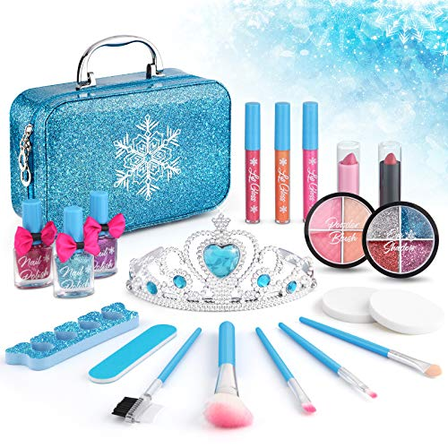 Price comparison product image 21pcs Kids Makeup Kit for Girls,  Kids Play Washable Makeup Set Frozen Toys for Girls,  First Princess Little Girls Starter Kit Real Makeup Cosmetic Beauty Set Toys for 3 4 5 6 7 8 9 10 Year Old Girls