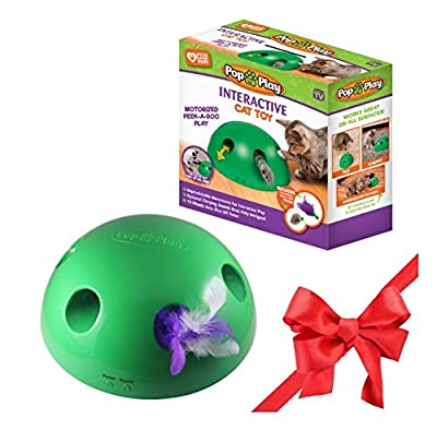 Allstar Innovations Pop N' Play Interactive Motion Cat Toy, Includes: Electronic Smart Random Moving Feather & Mouse Teaser, Mouse Squeak Sound Optional & Auto Shut Off. Best Cat Toy Ever! from