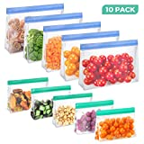 10Pack Reusable Silicon Food Storage Bags & Silicone Stretch Lids