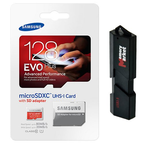 Samsung Evo Plus 128GB MicroSD XC Class 10 UHS-1 Mobile Memory Card for Samsung Galaxy S7 & S7 Edge with USB 3.0 Ultra High Speed MemoryMarket Dual Slot MicroSD & SD Memory Card Reader