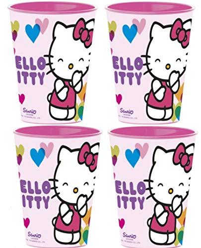 Familienkalender Taza con diseño de Hello Kitty, con corazones de colores, con asa, 250 ml, gato, regalo, niño, niña (4 vasos)