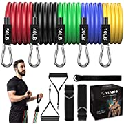 Resistance Bands Set 150 lbs,5 Tube Exercise Bands for Home Fitness ,Workout Bands with Door Anchor, Handles ,Ankle Straps and Instruction Booklet for Resistance Training, Physical Therapy, Yoga 11pcs