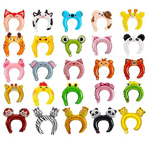 SEALEN 25 PCS Aufblasbares Stirnband, niedlichen Tier Ballon Haarband für Kinder Erwachsene, Dschungel Thema Birthday Party Supplies Tier Party Favors Kostüme (Mix Farben)