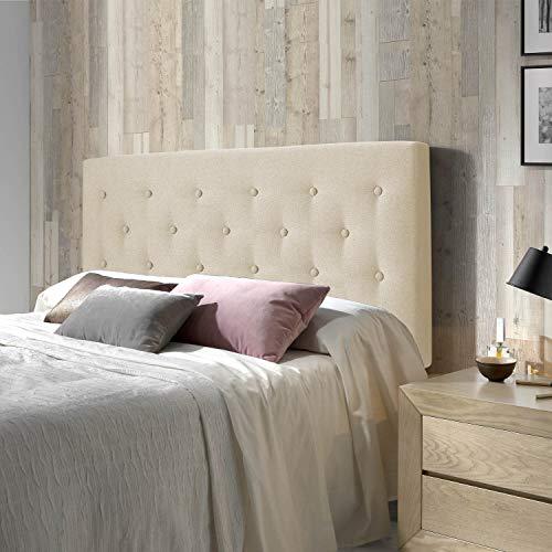 marckonfort Cabecero tapizado Oslo 160X100, capitone en Tela Beige Tostado, Grosor de 8 cm