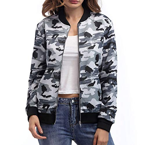 QJSZ Womens Full Zip Long Sleeve Camo Coat Spring, Autumn and Winter New Comfortable Outdoor Climbing Hiking Casual Wear Jacket Fashion Lightweight top M