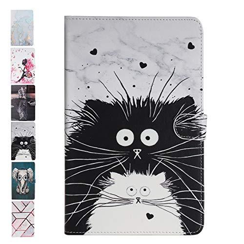 ANCASE Tablet PC Custodia per Huawei MediaPad T3 10.0 Pollici Effetto Marmo Disegni Flip Cover in Pelle aLibro Case Porta Carte Gatto Bianco e Nero