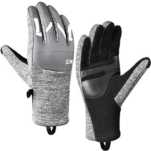 MCTi Winter Gloves Touchscreen Warm Fleece Lining Goatskin Leather Palm for Men Women Running Cycling