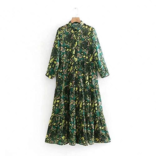 DAIDAILYQ Vintage Dar Vuelta Cuello Vestido Floral Vestido