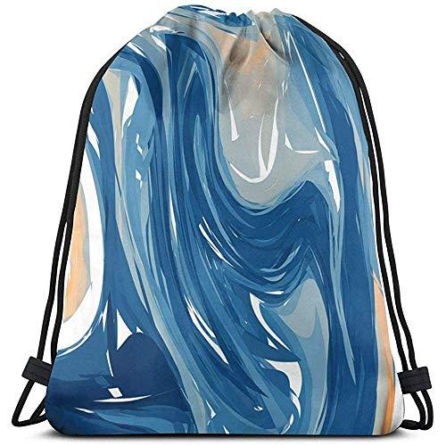 wallxxj Kordelzug Taschen Blau Orange Marmor Figur Lässige Sporttasche Kordelzug Rucksack Cinch Sack Sport Frauen Männer Cinch Taschen Print Kordelzug Taschen Modeschule