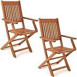 Deuba Set de 2 sillas 'Sydney' Plegables de Madera de Acacia Certificado FSC pre aceitada para...