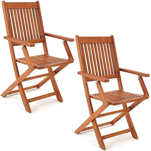 Deuba Set de 2 sillas \'Sydney\' Plegables de Madera de Acacia Certificado FSC® pre aceitada para jardín con reposabrazos