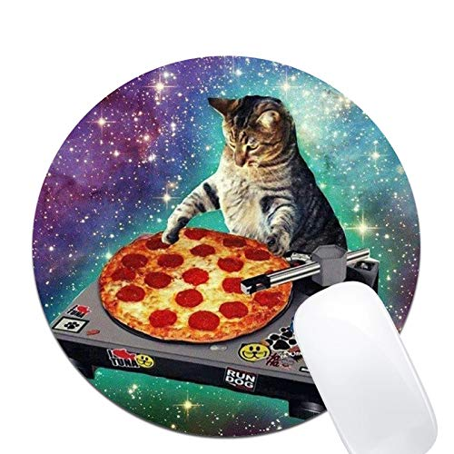 Mouse Pad,New Top Funny Space Cat and Pizza Pattern Round Mouse Pad Non-Slip Rubber Mousepad Office Accessories Desk Decor Mouse Pads for Computers Laptop