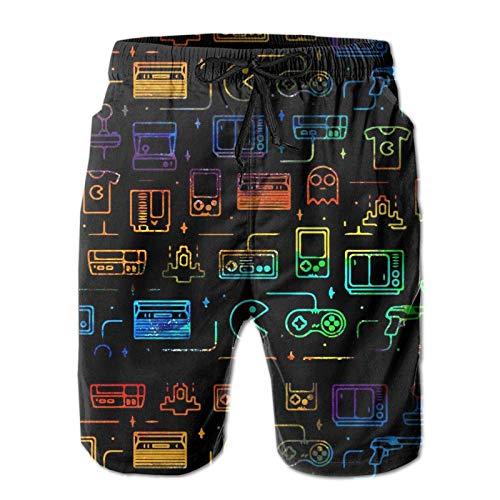 Mens Swim Trunks Game Video Gaming Pattern Black Men's Summer Beach Shorts, Quick Dry Athletic Trunks (Size M)