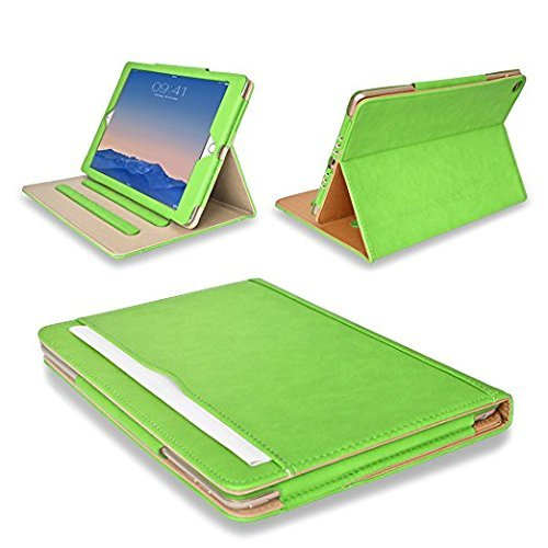 MOFRED Green & Tan Apple iPad Air (Launched November 2013) Executive Leather Case-Voted by'The Daily Telegraph' as #1 iPad Air Case! (For iPad Models A1474,A1475,A1476)