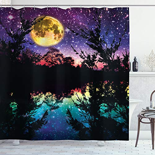 """Ambesonne Purple Shower Curtain, Lake Moonlight Stars in Night Sky with Trees Contemporary Modern Design, Cloth Fabric Bathroom Decor Set with Hooks, 70"""" Long, Purple Pink and Blue"""
