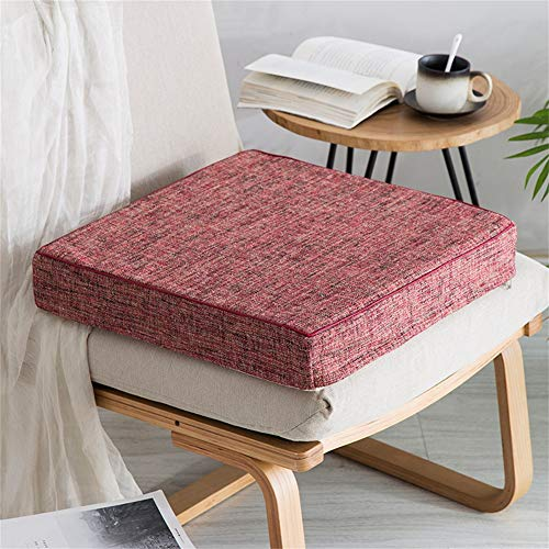 Z IMEI Cotton Linen Square Thicken Chair Cushions 2 Pack cozy Breathable Seat Pads Universal Cushions Foam Filled Garden Balcony-red 50x50x8cm(20x20x3in)