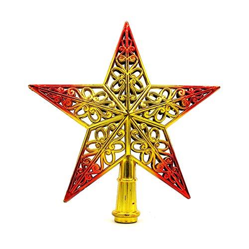 LPxdywlk 3D Ahueca hacia Fuera La Estrella De Cinco Puntas Home Home Christmas Tree Top Decor Xmas Supply Scene...