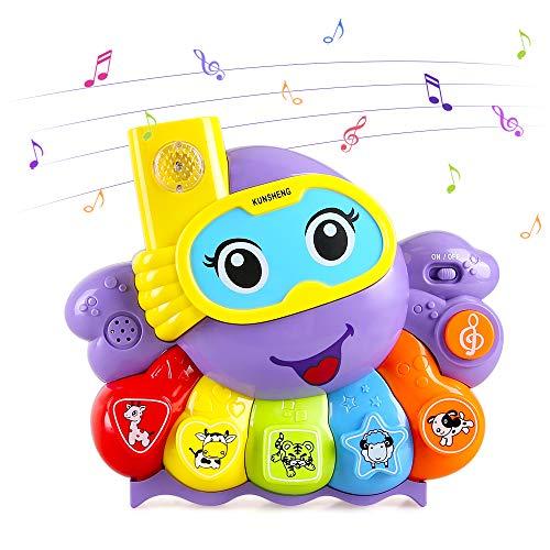 LBLA Baby Musik Spielzeug, Tintenfisch Keyboard Musikspielzeug mit Licht, Klavier Lernspielzeug mit Liedern, Geschenk für Baby und Kleinkinder