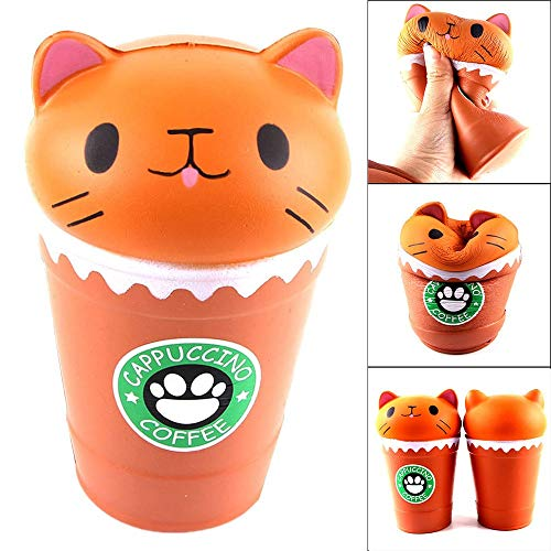 Cute Cup Cat Squishy Toys,Kids Cartoon Slowly Rising Toys Portable Exquisite Stress Relief Toys for Anxiety,Adults&Toddlers Birthday Gifts (A)