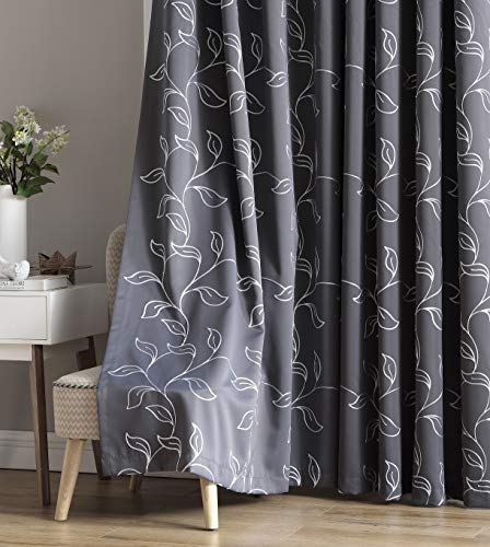 HLC.ME Carol Floral Decorative Embroidered Pattern Thermal Insulated Blackout Room Darkening Energy Savings Soundproof Window Curtain Grommet Panels for Bedroom, Set of 2 (52 W x 84 L Long, Grey)