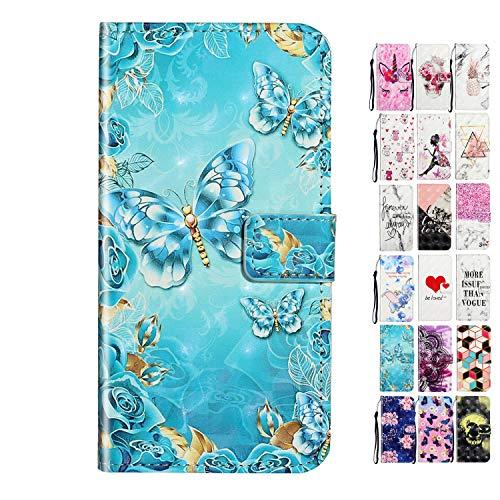 Rose-Otter Funda para teléfono móvil Xiaomi Redmi Note 9S/Note 9 Pro/Pro Max, de piel, con tapa, tarjetero, plegable, diseño de flores, color dorado, azul, mariposa