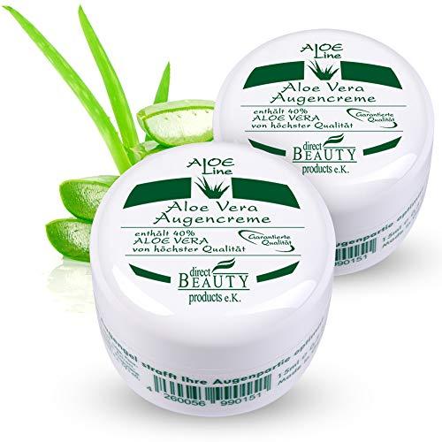 Aloe Vera Augencreme - enthält 40% Bio Aloe Vera, Sheabutter, Vitamin E, Weizenkeimöl, Hyaluronsäure, Vitamin A & Allantoin - lindert Augenfältchen & Augenringe - VEGAN / 2er Pack (2x 15 ml)