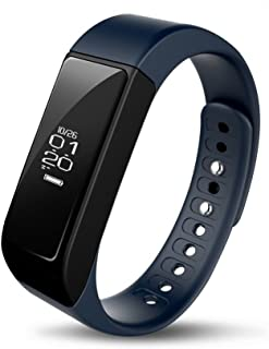 iWOWNfit i5 Plus Fitness Tracker Smart Bracelet Band with Deep/Light Sleep Monitor and Call Text Display, Steps Track Calories Counter Activity Touch Screen Wristband for Android and iOS (Blue)