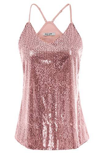 GRACE KARIN Women Shimmer Sequin Embellish Sparkle Tank Tops Size M,Pink