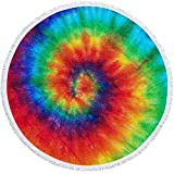 """Round Beach Towel Oversized Thick Beach Blanket Tassels 60'' Creative Rainbow Theme Ultra Water Absorbent Microfiber Camping Picnic Vacation Shower Yoga Mat Table Floor Cloth Pad (#Vision03, 60"""")"""