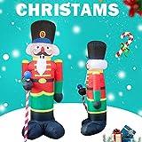 PopHMN Soldado Inflable del Cascanueces, Soldado Inflable Grande de Papá Noel de la Navidad de los 2.4M con la luz LED para la decoración de la Navidad Decoración jardín al Aire Libre