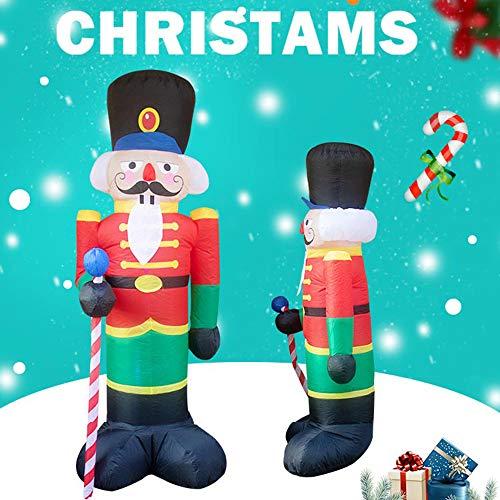 PopHMN Aufblasbarer Nussknacker-Soldat, 2,4 m großer aufblasbarer Weihnachtsmann Weihnachtsmann Soldat mit LED Licht für Weihnachtsdekoration Gartendekoration im Freien