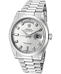 Rolex Men's Day-Date Automatic White Diamond Silver Dial President Platinum