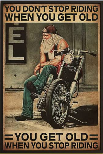 Eeypy Motorcycle You Don't Stop Racing When You Get Old Cat Poster Tin Sign Iron Painting Home Family Lovers Gift Funny Metal Signs Bedroom Novelty Retro Parlor Courtyard Wall Decor 8x12 Inch