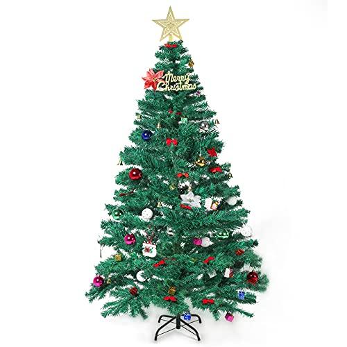 VTERLY Alberi di Natale Artificiali, 180cm Verde Albero di Natale con 163 Addobbi per l albero di Natale, Multi-Colore Led Stringa, 400 Rami di Natale Artificiale, Supporto in Metallo