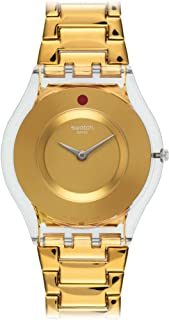 Swatch Women's SFK399G Punto Rosso Year-Round Analog Quartz Gold Watch