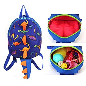 Toddler kids Dinosaur Backpack Book Bags with Safety Leash for Boys Girls (Style:1 Dark blue)