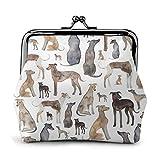 Galgos Wippets and Lurcher Dogs - Monedero de piel con cierre de beso para tarjetas de crédito, monedero, monedero, monedero, monedero, monedero, monedero, monedero, billetera, monedero para llaves, 4.52 x 4.13 pulgadas