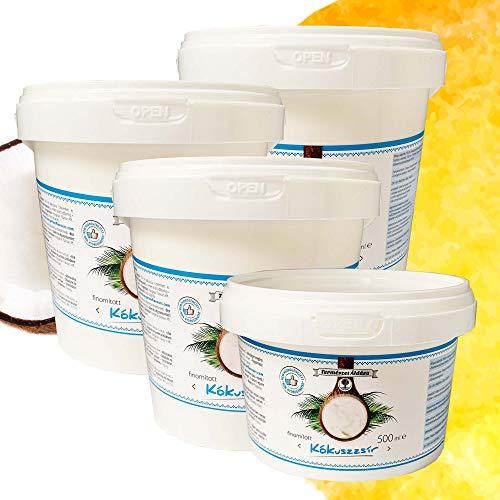 Coconut Oil | Kokosfett | Kokosöl | Kokosnussöl | Geschmacksneutral | Raffiniert - Desodoriert | Kokosöl für Haare und Haut | zum Kochen, Braten, Backen | Kokosöl für Hunde,Tiere (3x1000ml+500ml)