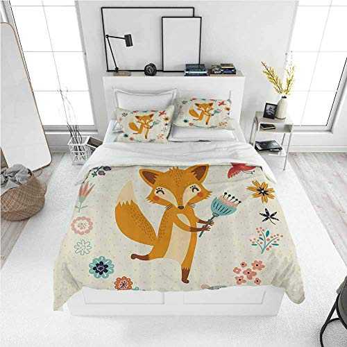 Modern Duvet Cover Cartoon,Cute Animal with Floral Flowers Leaves Fish Detailed Frame,Eggshell Coral Almond Green Peach Best Modern Style Bed Quilt Bed Cover for Men Women (California King)