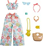 Barbie Storytelling Fashion Pack of Doll Clothes Inspired by Roxy: Matching Floral Top & Pants with 7 Accessories Dolls Including Pineapple Purse, Gift for 3 to 8 Year Olds