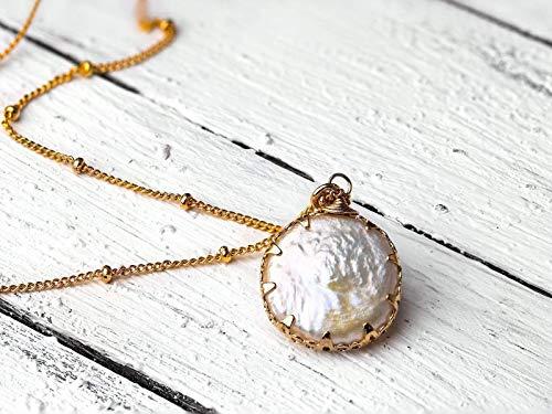Außergewöhnliche Perlmutt-Kette gold, vergoldete Satellitenkette mit doppelseitigem Anhänger Perlmutt-Scheibe, ein tolles Geschenk für Sie