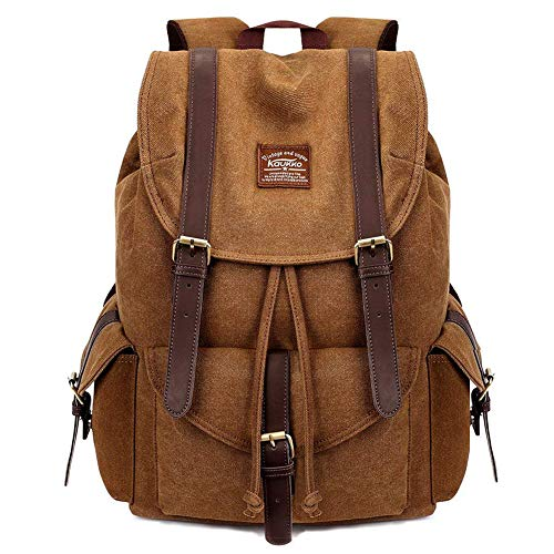 KAUKKO Herren Damen Schulrucksack Wanderrucksack Reisetasche Laptoprucksack Outdoor Sports Freizeit Daypacks, Khaki, Large