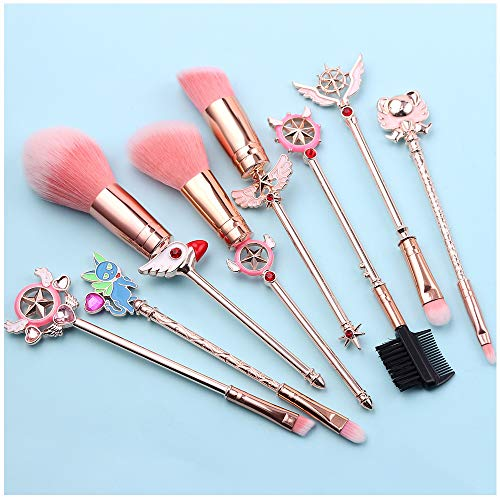 Juego de brochas de maquillaje Magic Sailor Moon/Sakura - Juego de 8 brochas de maquillaje con cordón rosa