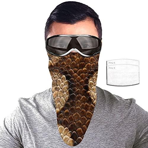 ZORIN Snake Boa Constrictor Gold Red Sun Protection Bandanas Cara Bufanda Máscara con 2 Filtros Polaina para el Cuello