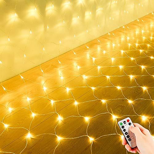 200 LEDs Filet Lumineuse Nettes Extérieure, 3M x 2M Guirlande Solaire Etanche Prise Courant, 8 Modes Lumières Corde Fée Maille d Éclairage avec Distance Minuteur pour Jardin Patio Clôture, Blanc Chaud