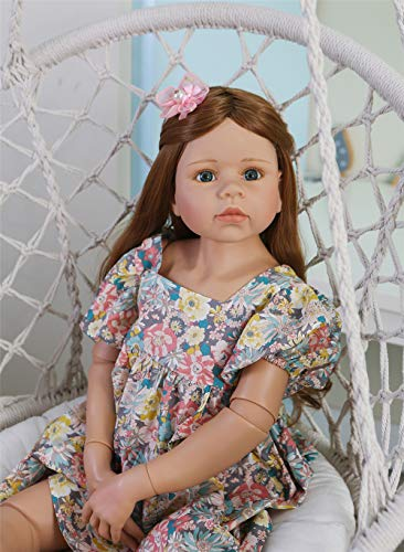 Zero Pam 98CM Reborn Toddler Dolls Blue Eyes 39 Inch Realistic Reborn Dolls Girl Long Hair 3yr Old Dress Model Collectible