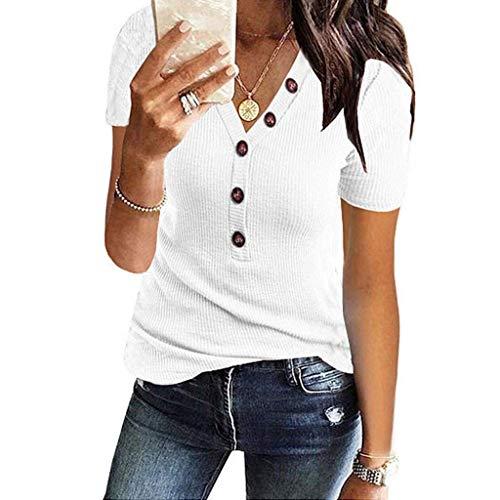 Hanyixue Dames t-shirt met korte mouwen Gebreide V-hals effen kleurknopen Tops Shirts met korte mouwen sexy elegante zomerblouse tops Tuniek T-shirt katoenen overhemd
