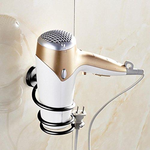 Accessoires pour Salle de Bain,Sensail organisateur de support de suspension de sèche-cheveux de support de mur, support de sèche-cheveux en aluminium (Noir, 9X9X12.5cm)
